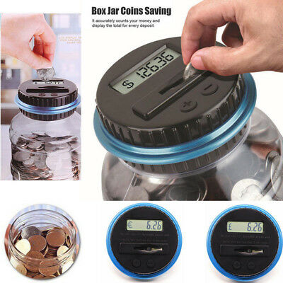 Kids Digital Piggy Bank Coin Savings Counter LCD Counting Money Jar Change CH