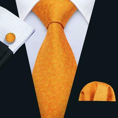 UK Mens Tie Silk Orange Paisley Ties Necktie Handerchief Set Woven Wedding