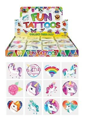 UNICORN KIDS TEMPORARY TATTOOS Assorted Designs Party Bag Filler Loot Boys Girls