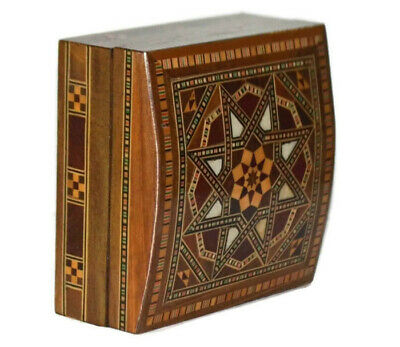 Vintage Eastern Wooden Box Arabesque High Quality , Hinged Lid & Lined Interior