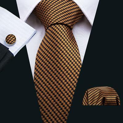 UK Classic Men's Ties Necktie Gold Black Striped Houndstooth Tie Set Wedding