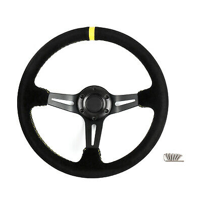 350mm Nubuck Leather Blk 6-Bolt Car Racing Steering Wheel with Horn Button AU5