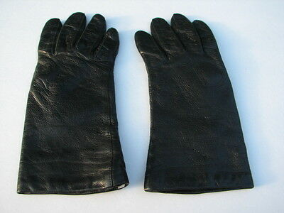 **Designer Ladies Black Leather Gloves  Acrylic Lining Size 6.5 Made In Italy
