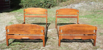 Vintage Pair Solid Maple Twin Size Bed Frames 1940's