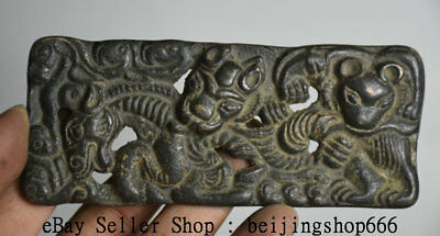 12cm Collect Rare Antique Old Chinese Bronze Beast People Brand Pendant