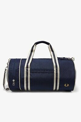 FRED PERRY BARREL Bag L2206 Webbing Canvas Carry Shoulder Navy Bags ... 1659a71de8674