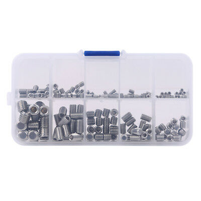 200pcs Set Screw Bolts and Nuts Precise Hex Head Cap Stainless Steel 8C