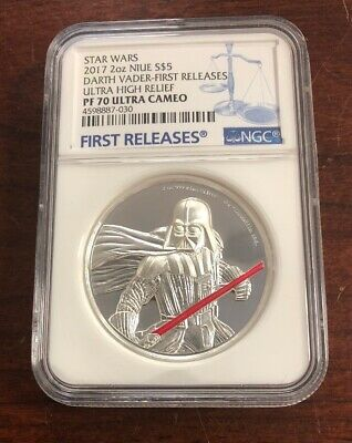 2017 Star Wars 2oz Niue $5 Darth Vader First Releases PF70 UC W/Box & COA