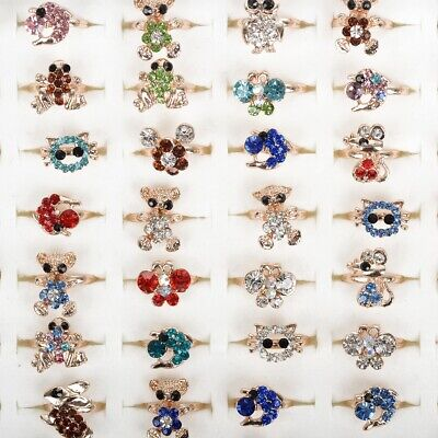 50/100pcs Wholesale Mixed Rings Animal Child Kids Crystal Finger Ring Jewelry