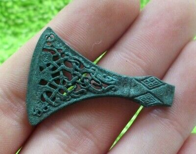 Superb Medieval Viking Bronze Openwork Axe Amulet - Extremely Rare - 800/1000 Ad