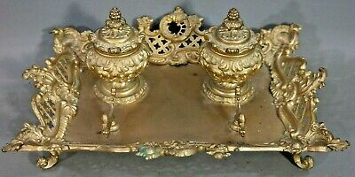 LG Antique FRENCH Old LOUIS XVI Floral ROCOCO DOUBLE INKWELL Pen Rest DESK SET