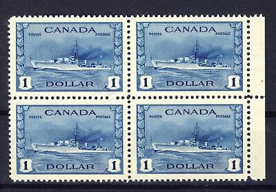 Canada WWII Stamps Block of 4 #262-$1.00 Destroyer MNH VF Cat. Value= $600.00