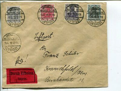 Germany Weimar National Vers. Luftpost express cover 18.6.1919