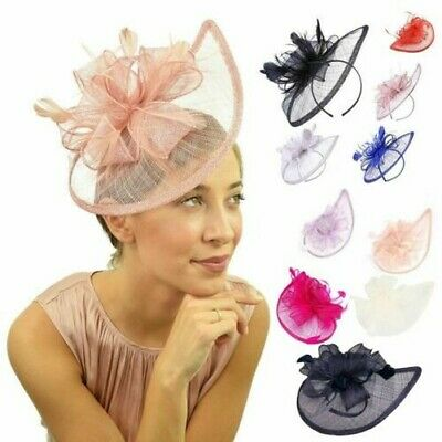 Donna Sinamay Fascinator Decorazioni per Capelli Cerchietto Ascot Race