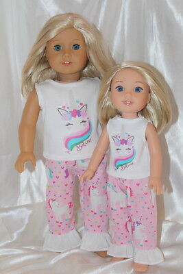 Unicorn Doll Clothes Lot fits 14inch Wellie Wishers 18inch American Girl Dolls