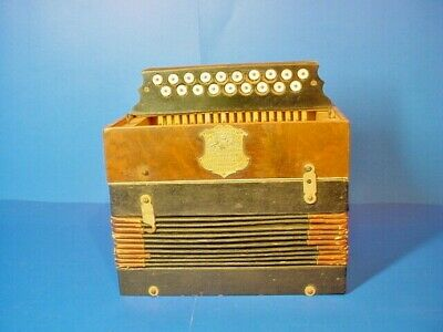 Vintage Spanish  19 Buttons Box Concertina / Accordion /  For Parts/Repair
