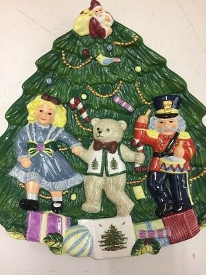 Spode Christmas Tree Handpainted Toys Around The Tree Cookie Plate JL 11 0617 A