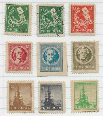 9 Germany State Thuringia Stamps from Quality Old Album