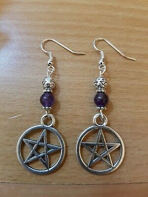 Amethyst Pentacle Earrings - Witch Wicca Pagan Magick