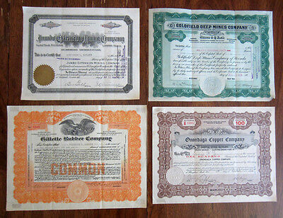 Lot of 4 Vintage Stock Certificates - MIning & Rubber - 1920-1924 - Rare