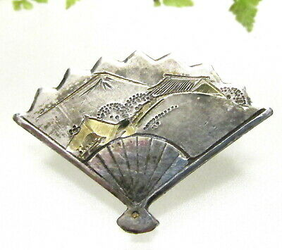 Lovely Vintage Sterling Japanese Ladies Hand Fan Button W/ Gold Highlights A150