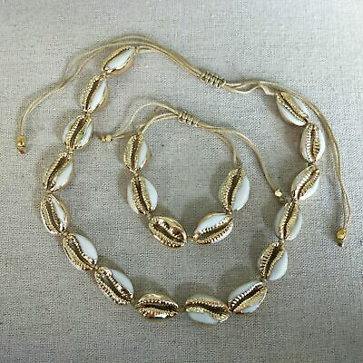"""12~20/"""" Adjustable Natural Cowrie Shell Sea Rope Choker Necklace Handmade BHD0003"""