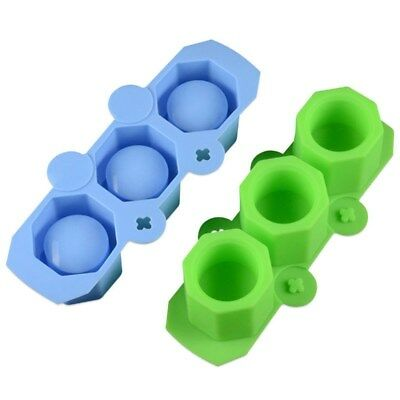 DIY Silicone Ice Cube Mould 3-Holes Ice Maker Ice Tray Round Reusable Jelly Mold