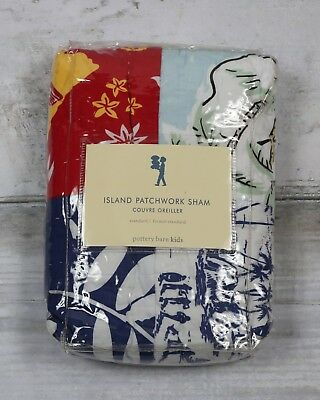 NEW Pottery Barn Kids Blue Patchwork Island Surf Palm Trees Hawaii Quilted Sham