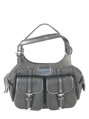 9cf0ff52a37c CHRISTIAN DIOR Diorissimo Black Canvas and Leather Trim Satchel Made in  Italy
