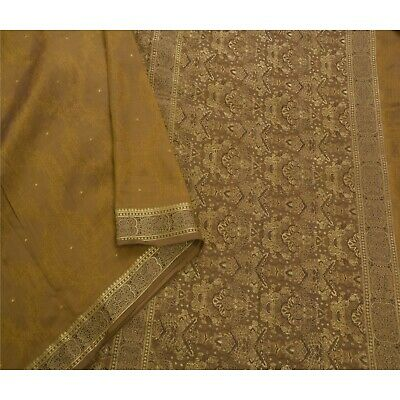 Sanskriti Vintage Brown Saree Pure Silk Woven Craft 5 Yd Fabric Premium Sari