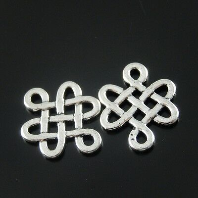 Antique Silver Tone Alloy Chinese Lucky Knot Charms Pendant 17*15mm 80PCS 33399