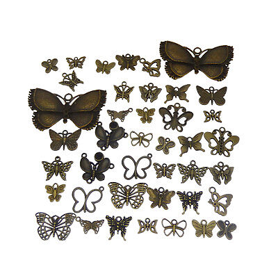 40 pcs Mix Lots Vintage Bronze Metal Butterfly Charms Pendants Findings DIY