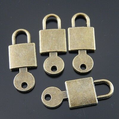 50pcs Antiqued Bronze Alloy Lock Key Pendant Charms Craft Jewelry Findings 38153