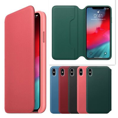 For Original iPhone X XR XS Max Leather Folio Protective Cover Flip Wallet Case