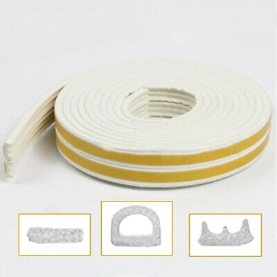 1X White Draught Excluder Self Adhesive Rubber Door Window Seal Strip Roll Foam