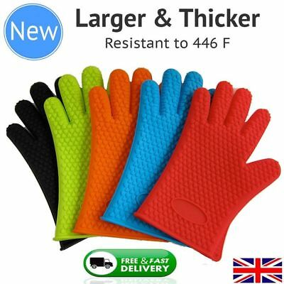 Pair of Gloves Heat Resistant Silicone Gloves Kitchen BBQ Oven Cooking Mitts new