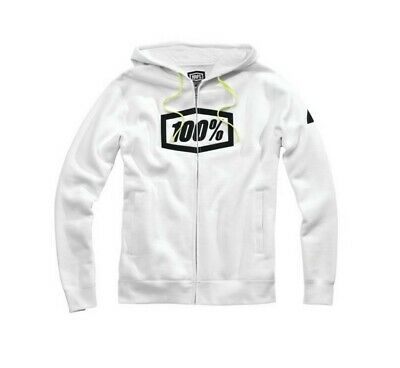 100% Syndicate Mens Zip-Front Hoody White