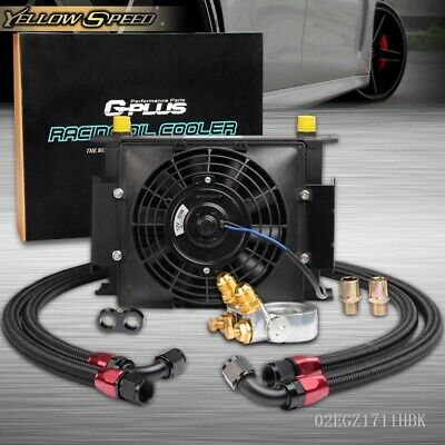 Gplus 10 Row Thermostat Adaptor Engine Racing Oil Cooler Silver Oil Lines Kit