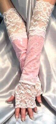 Madame Fantasy XX Long Sequin Fingerless Gloves Lace Cuffs Baby Pink White