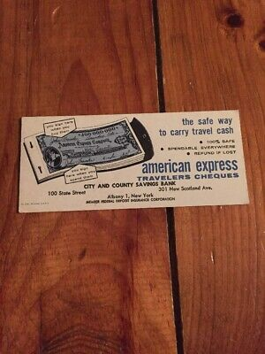 Vintage American Express Travelers Cheques Albany New York Advertising Bank Card