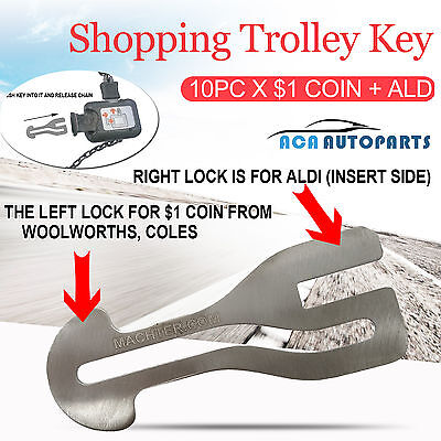 10pc Removable Shopping Trolley Key $1 COIN SLOT ALDI WOOLWORTHS COLES KEY Chain