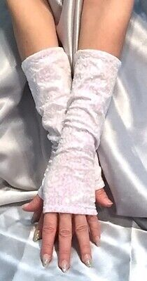 Madame Fantasy Long White Baby Pink Sequin Fingerless Gloves Arm Warmers