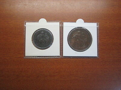 Holloways tokens half penny and penny 1858 2 Tokens