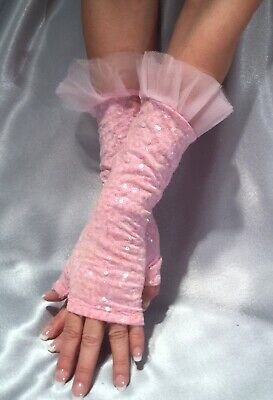 Madame Fantasy Long Sequin Fingerless Gloves Baby Pink Tulle Ruffle