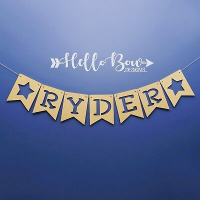 Wooden Bunting Dovetail Flags Children Personalised Name Bedroom Decor