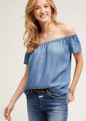 b6a320dedaa6d3 Cloth   Stone Blue Anthropologie Blue Chambray Off Shoulder Blouse Size  XS