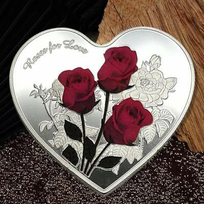 Love Heart Rose Metal Silver Commemorative Coin Valentine's Day Gifts Creative