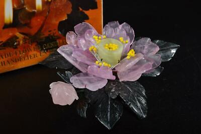 G8371: Chinese Stone Flower-shaped SHOKUDAI/stand, holder sockets for candles