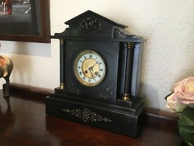 Antique French 1889 circ Slate Marble black Medaille D'Argent clock