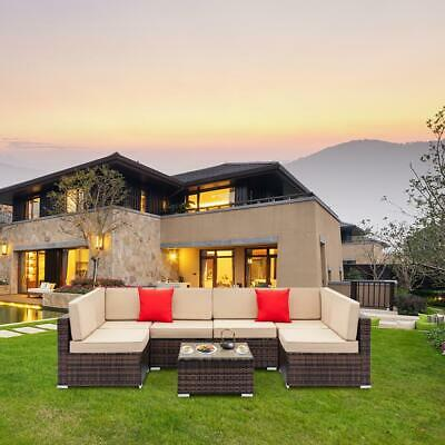 Outdoor Patio Furniture Couch 7PCS Wicker Rattan Cushioned Sofa Sectional Set